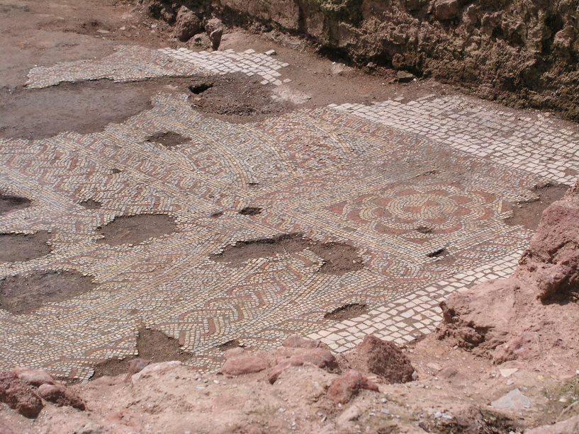 Mosaic being excavated at at Yarford Roman Villa